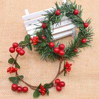 Decorative Flowers & Wreaths 7-9cm Rattan Christmas Wreath Artificial Garland Dried Flower For Home Wedding Decoration DIY Floral
