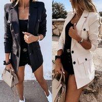 Abiti da donna Blazer Autunno Casual Cappotto Blazer Cappotto Cappotto Abbigliamento Manica Pulsante Donna Femmina 2021 Elegante Ufficio Lady Capispalla