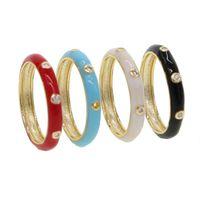 Multi esmalte vermelho azul preto preto ouro cor anel de banda para mulheres senhora anéis de dedo de casamento jóias