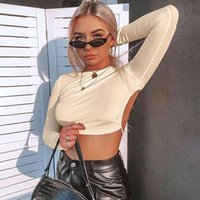 Women's T-Shirt Sexy Backless Long Sleeve T Shirt Tops Women 2021 Summer Autumn Hollow Out Bandage Bodycon Party Crop Top Clubwear White Pin