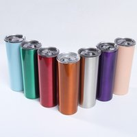 Skinny Tumbler 20oz Stainless Steel Double Wall Tall Wine Glasses Slim Vacuum Insulated Cup With Seal Lids 31 color Sea shipping T2I52207