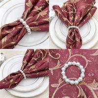 Newwhite pérolas de guardanapo de guardanapo do guardanapo do guardanapo do guardanapo para a recepção do casamento Decorações da tabela do partido suprimentos EWB7943