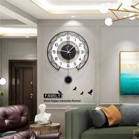Wall Clocks Nordic Swing Clock Living Room Fashion Personality Wood Simple Modern Watch Art Quartz Home