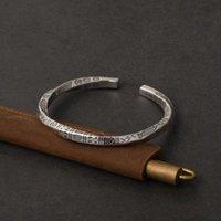 Bangle Style Men And Women Silver Color Retro Hieroglyph Open Bracelet Fashion Trend Jewelry Gift BR 216