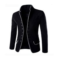 Men's Suits & Blazers slotted suit, black wool casual high collar large, Party fashion coat, winter VOMP