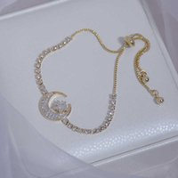Japanese&Korea Fashion Brand Jewelry Zirconia Star Charm Bracelets Bangles Crystal Moon Bracelets for Women Gift Y0624