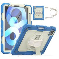 Tablet Case For iPad Air 4 10.9 inch with Screen Protector Heavy Duty 360 Rotating PC Rubber Kid Hand Shoulder Strap Kickstand Cover