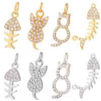 Charms Fascino per gioielli Making Fornitures Gold Fish Cat Star Star FAI DA TE Orecchino Braccialetto Collana in metallo Copper CZ Zircone Accessori