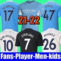 top Maglia da calcio Manchester City 20 21 22 G. JESUS STERLING FERRAN DE BRUYNE KUN AGUERO 2021 2022 kit da calcio camicie UOMO uniforme da uomo + set per bambini