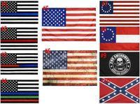 Amerikanische Flagge 90cmx150cm Strafverfolgung Offizier Zweiter Änderungsantrag Bill US Police Fine Blue Line American Betsy Ross Flagge