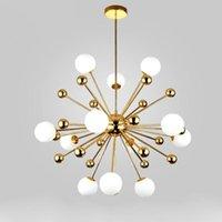 Diseño de diente de león contemporáneo Oro LED de vidrio Lámpara de chandelier para el dormitorio Comedor Sala de estar Restaurante El interior Nordic Decor Lámpalleras
