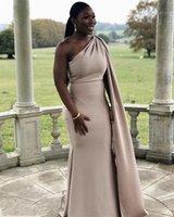 Платья подружки невесты шампанского с накидной африканской специальной длиной на плечо длиной русалкой свадебное платье выпускного вечера