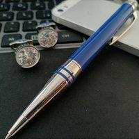 أزرق كريستال قميص الزفاف أزرار أكمام الفضة الفولاذ المقاوم للصدأ ختم صفعة زر مع الأزياء القلم المعادن للهدايا