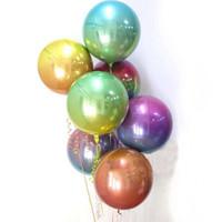 파티 장식 22 인치 4D 라운드 알루미늄 호일 미러 메탈릭 풍선 생일 결혼식 아기 샤워 결혼 장식 용품 C4GE Zepr