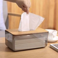 الخيزران غطاء خشبي البلاستيك الأنسجة مربع حامل ورقة موزع تخزين المنزل حالة 210326