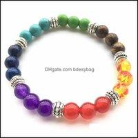 Beaded, Strands Bracelets Jewelry 7 Chakra Men Black Lava Healing Balance Beads Reiki Buddha Prayer Natural Stone Yoga Bracelet For Women Dr