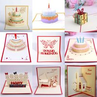 10 stilleri karışık 3d mutlu doğum günü pastası pop up nimet tebrik kartları el yapımı yaratıcı şenlikli parti malzemeleri