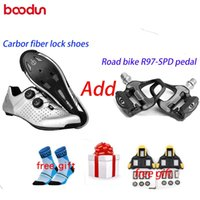 Boodun Ultralight Carbon Fiber Road Bike Lock Shoes AND-Slip transpirable Cómodo Casual Moda Deportes Bicicleta Ciclismo Calzado
