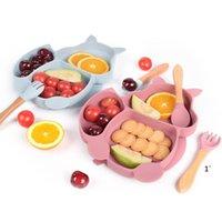 Talheres de alimentação do bebê ajustaram o silicone de silicone separado do silicone dos desenhos animados do silicone da placa do alimento
