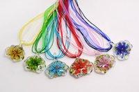 6Color com flores dentro da lampwork Murano pingentes de vidro artesanais colares para senhor jóias presente de cor misturada