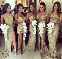Backless Mermaid Bridesmaid Dresses Slit Plus Size Sparkly Bling Gold Sequined Maid Of The Honor Gowns Part Dress
