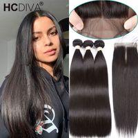 Bandetti di capelli lisci dell'osso con la chiusura dei capelli umani brasiliani dei capelli umani con la chiusura del pizzo Remy Human Hair Bundles