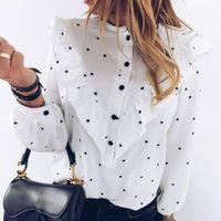 Jocoo jolee elegante volante lunar lunar impresión blusa mujer o-cuello manga larga camisa femenina primavera verano camisa casual dama ropa1