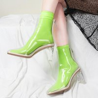 Boots Big Size 43 Back Zipper Nude Shoes Women's Ankle Online Square Toe Clear Short Crystal High Heels Booty