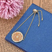 Fashion Summer Orange Shape Gold Color Zircon Bracelet Adjustable Length Fruit Jewelry Women Zk30 Link, Chain