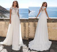 Cap Sleeves Lace Beach Boho Wedding Dress 2021 Jewel Neck Hollow Out Back A Line Chiffon Princess Bridal Gowns Plus Size Sweep Train Vestido De Noiva Summer AL9059