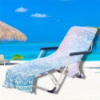 شاطئ غطاء كرسي ماندالا نمط حمام سباحة صالة تشيس منشفة صالات الشمس يغطي مع جيوب التخزين الجانبية GWD5812