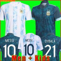 Argentine Soccer Jersey 20 21 Copa Home Shirt de football 2020 2021 Messi Dybala Aguero Lo Celso Martinez Tagliafico Men + Kit Kit Uniformes