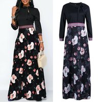 Elegant Womens O-neck Dresses Sexy Ladies Slim Long Sleeve Floral Printed Evening Party Dress Prom Gown Plus Size Casual