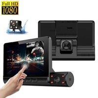 Pulgada de pantalla táctil Coche DVR DVR Conducción Video Recorder Cámara 3 Lente Dash Cam Full HD 1080P 170 grados Dashcam conVerview DVRS
