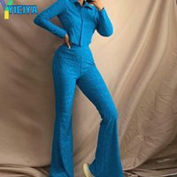 Women's Two Piece Pants Autumn Set Co Ord Women Summer Y2k Blue Tracksuit Printed Crop Top And Long Pant Suit