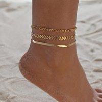 3 шт. / Установить Золотой цвет Простые цепи Анкелеты для женщин Нога цепочка ног Beach Beach Bracelets Ювелирные изделия Аксессуары