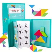 أطفال المغناطيسي 3d لغز بانوراما tangram التفكير التدريب لعبة طفل مونتيسوري تعلم ألعاب خشبية تعليمية للأطفال