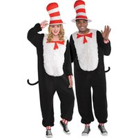 1561 couple clothes adult halloween cosplay couple clothes animal play black cat hat onepiece