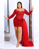 2021 Plus Size Arabic Aso Ebi Red Sparkly Sexy Prom Dresses Lace Beaded Sheer Neck Evening Formal Party Second Reception Bridesmaid Gowns Dress ZJ225
