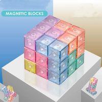 DHL Zappget Spielzeugpuzzle Magnetic Cube Magic Blocks Soma Magnet 3x3 Educational Toys für Kinder Kinder mit Bausteinanzeigekarte