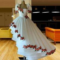 White High Low Lace A Line Prom Dresses Short Sleeve Handmade Flower Appliqued Evening Gowns Ruffles Custom Made Robes De Soirée