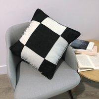 H Письмо 45 * 45 см подушка Nordic домашний корпус тканый жаккардовый пользовательский светло-серый черный белый одеяло подушка диван шерсть