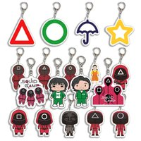 Party Squid Game Keychain Clear Acrylic Charms 3D Mini Doll Key Ring Car Backpack Pendant Gift Ornament GWB11187