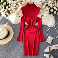 Foamlina Floral Lace Spliced Cold Shoulder Long Sleeve Knitted Sweater Dress Women Stand Collar Slim Fit Mini Bodycon Sexy Casual Dresses