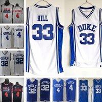 남자 Ncaa Duke Blue Devils Jerseys 33 Grant Hill 4 JJ Redick 32 Christian Laettner White 모든 스티치 대학 농구 유니폼