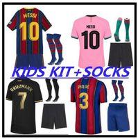 2021 Ansu Fati Messi Grisezmann de Jong Pjanic Coutinho Soccer Jersey Camisa de futebol 20 21 Esportes Barcelona Adulto Men + Kid Kit.