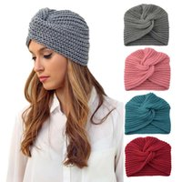 s For Solid Color Thickening Knitted Beanie Winter Hat Women Braided Hair Band Warm Beanies Twisted Knot