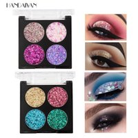 Handaiyan 4 Color Pressed Glitter Eyeshadow Palette Diamond Shaped Onion Slices Sequins Five-pointed Star Shards Easy to Wear Brighten Stage Makeup Eyeshadows