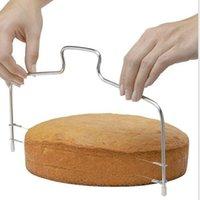 도매 부엌 DIY 베이킹 액세서리 더블 라인 케이크 슬라이서 홈 케이크 스트레이트 너 절단 라인 조절 케이크 슬라이서 jja247