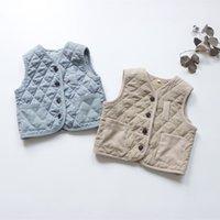 سقوط جديد الكورية نمط للجنسين الاطفال منقوشة الصدريات الدافئة لينة جيوب الأطفال سترات أكمام معاطف الاطفال الملابس